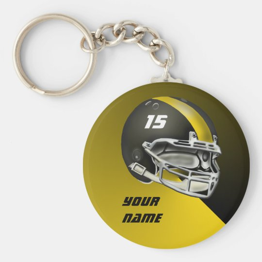 Black and Yellow Gold Football Helmet Basic Round Button Key Ring