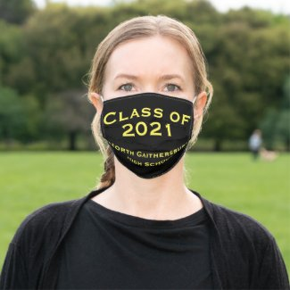 Black and Yellow Graduation 2021 Cloth Face Mask