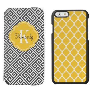 Black and Yellow Greek Key Monogram Incipio Watson™ iPhone 6 Wallet Case