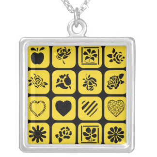 Black and Yellow Heart and Flower Squares Pattern Pendant