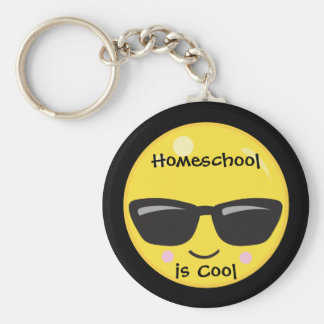 Black and Yellow Homeschool is Cool Emoji Key Ring