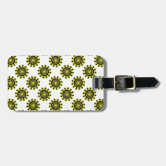 Black and Yellow Kaleidoscope Star Circle Luggage Tag