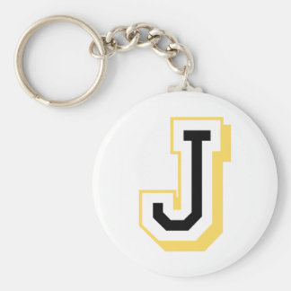 Black and Yellow Letter J Key Ring
