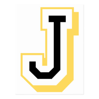 Black and Yellow Letter J Postcard