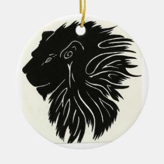 Black and yellow lion round ceramic decoration