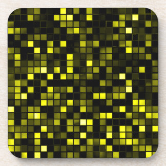 Black And Yellow Meteor Shower Squares Pattern Drink Coaster