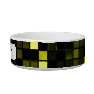 Black And Yellow Meteor Shower Squares Pattern Pet Water Bowls