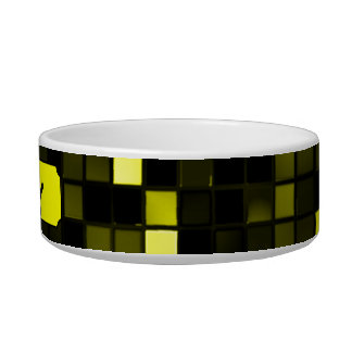 Black And Yellow Meteor Shower Squares Pattern Cat Food Bowls