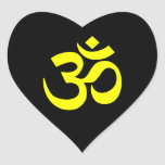 Black and Yellow Om Symbol Heart Stickers