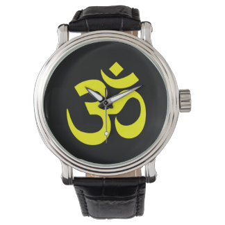 Black and Yellow Om Symbol Watch
