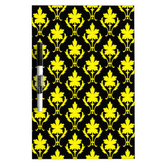 Black And Yellow Ornate Wallpaper Pattern Dry-Erase Board