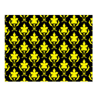 Black And Yellow Ornate Wallpaper Pattern Postcard