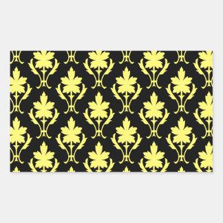 Black And Yellow Ornate Wallpaper Pattern Rectangular Sticker