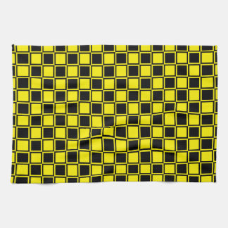 Black and Yellow Outlined Squares Tea Towel