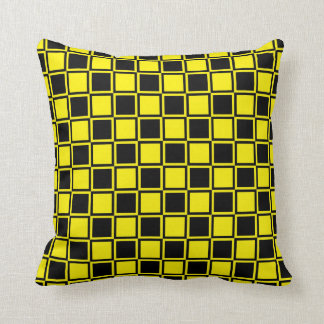 Black and Yellow Outlined Squares Throw Pillow