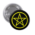 Black and Yellow Pentacle Pentagram Button Badge
