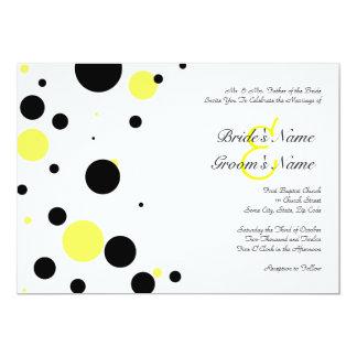 Black and Yellow Polka Dot Wedding Invitation