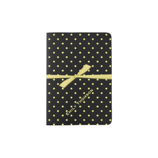 Black and Yellow Polka Dots Custom Passport Holder