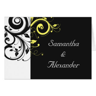 Black and Yellow Reverse Swirl Greeting Card