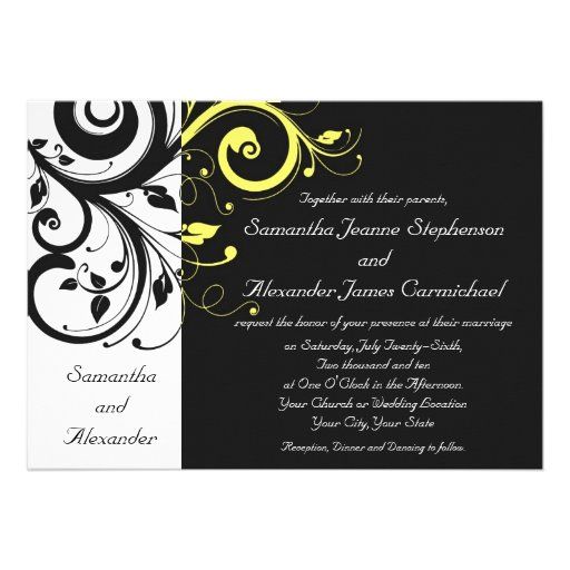 Black and Yellow Reverse Swirl Invites