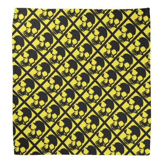 Black and yellow skull custom modern artistic bandana