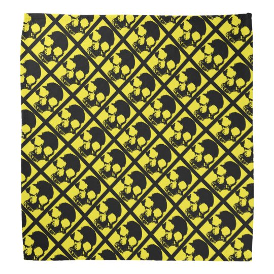 Black and yellow skull custom modern artistic bandanas