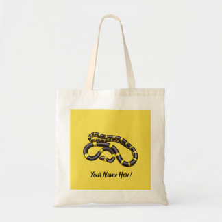 Black and yellow snake tote bag