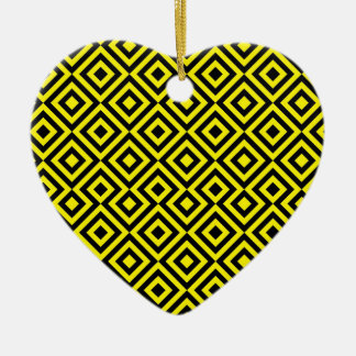 Black And Yellow Square 001 Pattern Ceramic Heart Decoration
