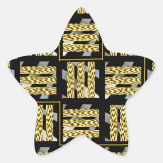 Black and yellow star sticker