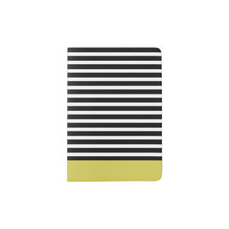 Black and Yellow Striped Passport Holder