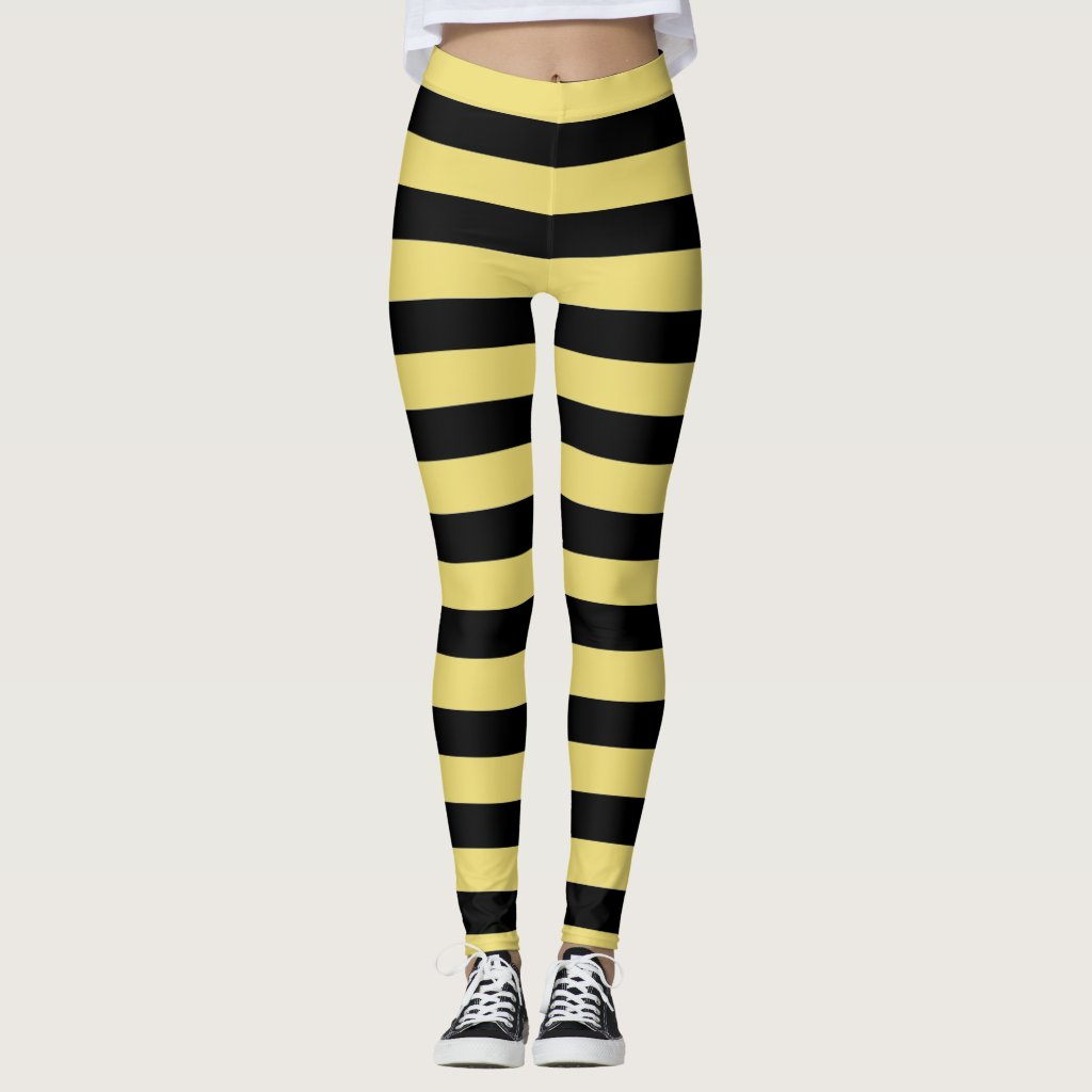 Black and yellow stripes bumble bee leggings