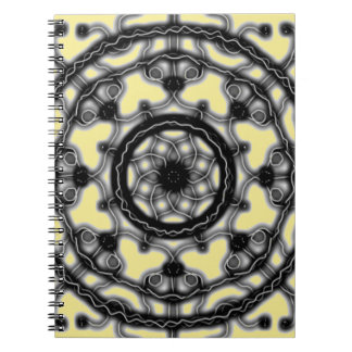 Black and Yellow ~Tech~Lace~ blossom ~ Spiral Notebook