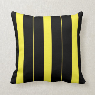 Black and Yellow Vertical Stripes Cushion