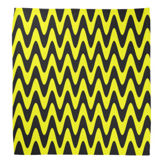Black and Yellow Wavy Zigzag Bandana
