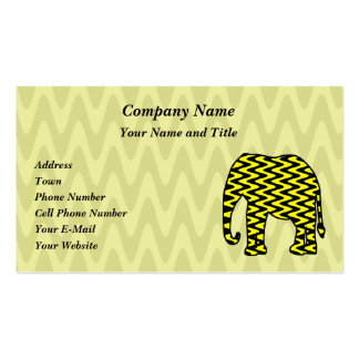 Black and Yellow Zigzag Elephant Business Cards
