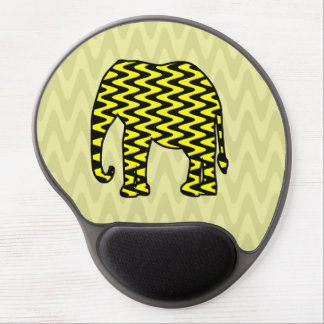 Black and Yellow Zigzag Elephant Gel Mouse Mat