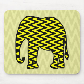 Black and Yellow Zigzag Elephant Mouse Pads