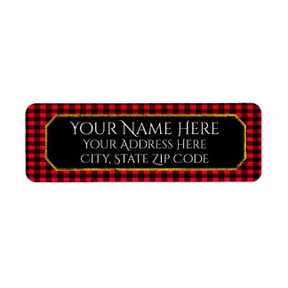 Black and Your Color Gingham Text Return Address Label