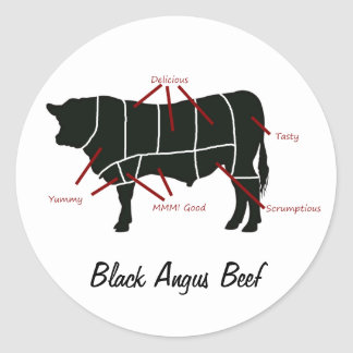 Black Angus Beef  Butcher Chart - Tasty Yummy Classic Round Sticker