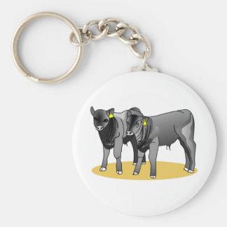 Black Angus Calves Basic Round Button Key Ring