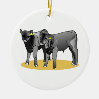 Black Angus Calves Round Ceramic Decoration