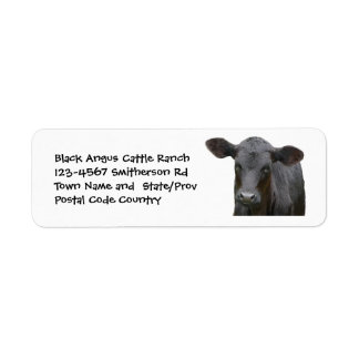 Black Angus Cattle Farm or Ranch Sticker Return Address Label