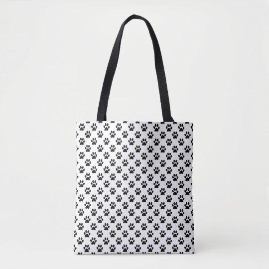 Black Animal Paw Prints on White Tote Bag
