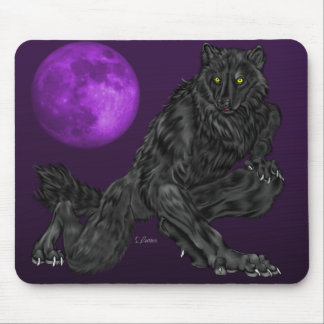 Black Anthro Werewolf Mouse Pad