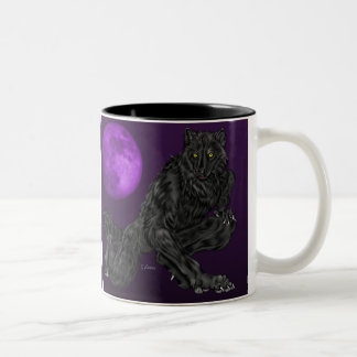 Black Anthro Werewolf Two-Tone Coffee Mug