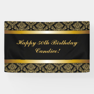 Black Any Age Gold Damask Birthday Banner