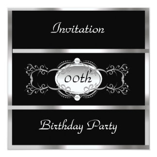 Black Any Birthday Invitation Black and Silver