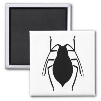 Black Aphid Insect Print Square Magnet