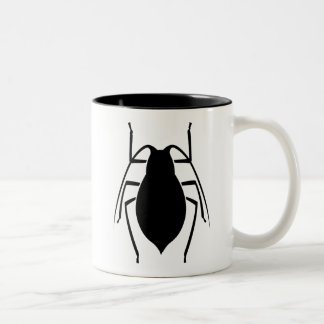 Black Aphid Insect Print Two-Tone Mug