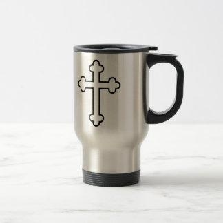 black apostles cross or budded cross stainless steel travel mug